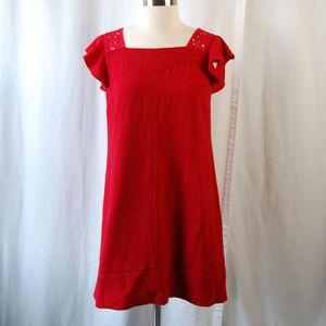 {HD in Paris} Red Flutter Sleeve Shift Dress Sz 2
